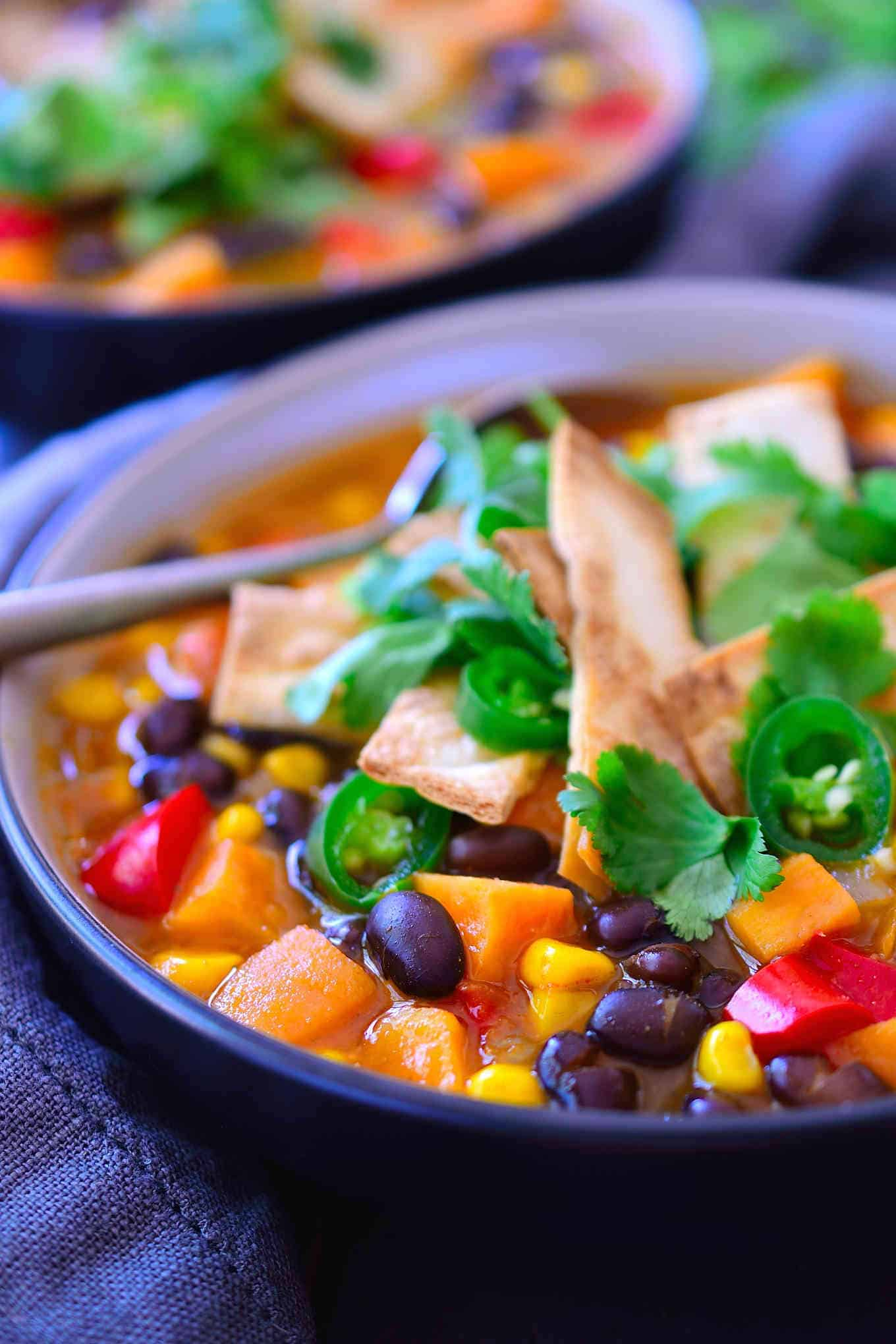 This vegetarian enchilada soup tastes just like ... you guessed it: enchiladas, but in soup form. Not only is it super tasty, it's much quicker and easier than traditional enchiladas as it can be ready in just 20 minutes! It's a super lazy, freezer friendly and filling meal that costs less than two dollars a serving.