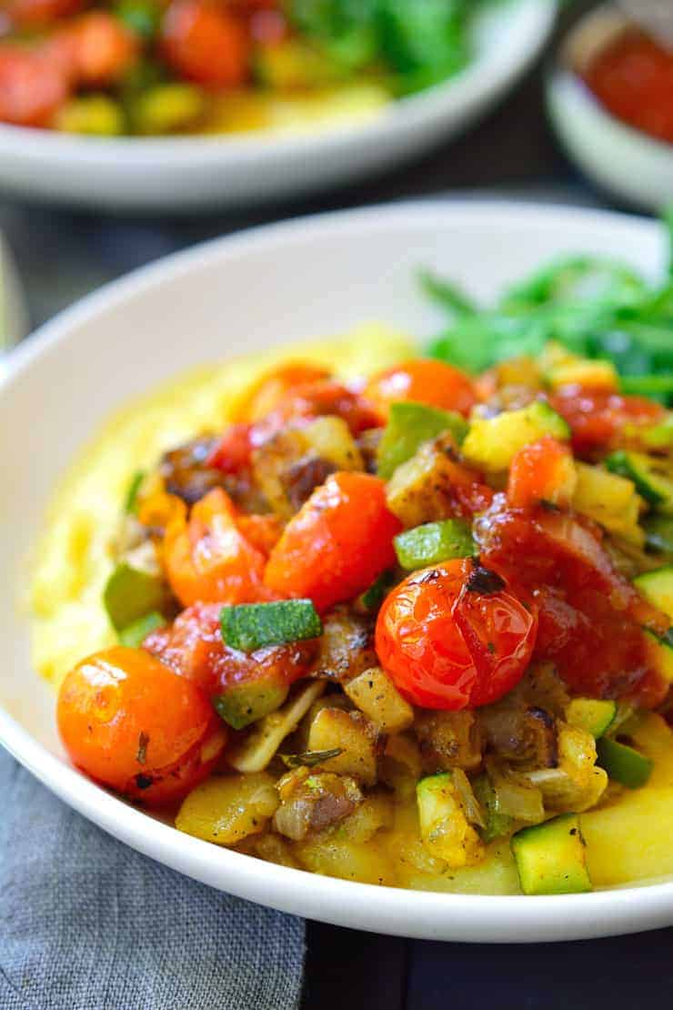 This vegan breakfast potato polenta bowl is an easy and cheap savoury breakfast that's deliciously comforting after and late night out!