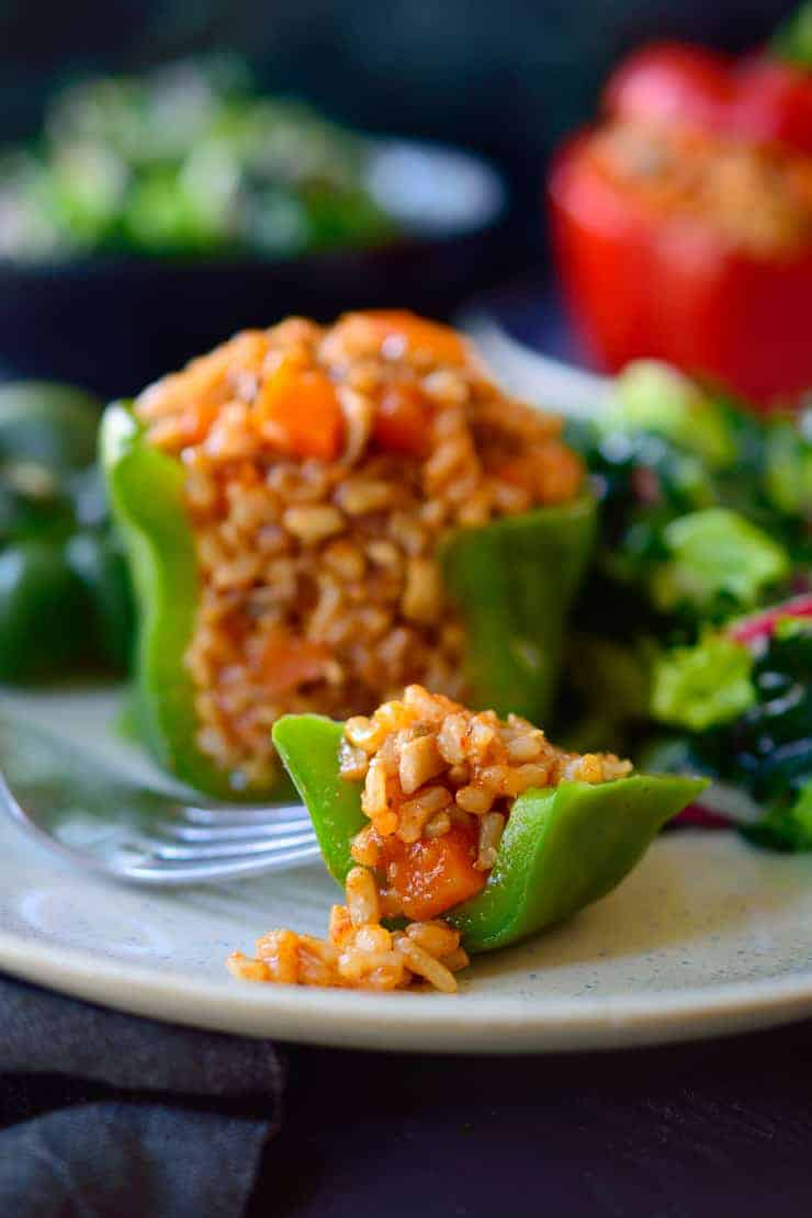 Vegan stuffed peppers are cheap, easy and delicious. No bake for a quick weeknight dinner.