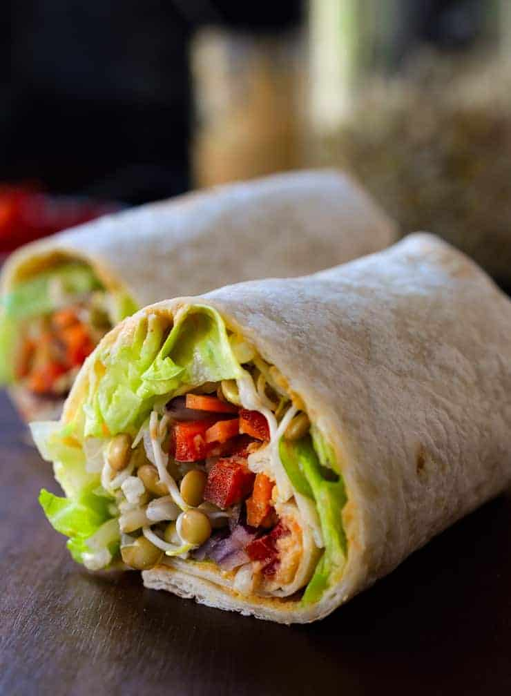 This sprouted lentil vegan hummus wrap is easy to make and packed with tiny nutritional powerhouses: sprouted lentils! Choose your favourite combo of veggies for this hummus wrap, with or without rice, for a tasty and healthy lunch or dinner.