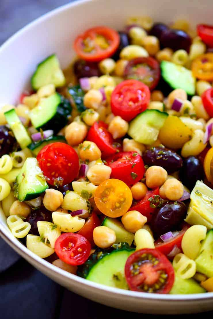 Mediterranean chickpea salad is a great vegan or vegetarian main or side. Ready in just 10 minutes!