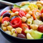 This Mediterranean chickpea salad is a super easy 10-minute recipe that's hearty, tasty and colourful! Great as a vegan or vegetarian main dish or as a side for a picnic, barbecue or potluck.