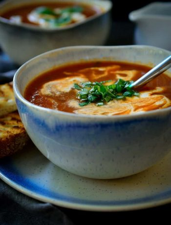 A quick easy and healthy vegan tomato basil soup. Delicious served year round!