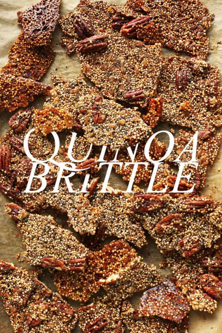 "A pan of quinoa brittle with the words ""quinoa brittle"" in white written over the photo."