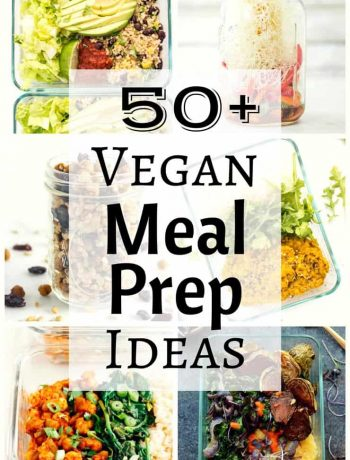 These 50+ vegan meal prep ideas will give you loads of inspiration for make-ahead vegan meals for breakfast, lunch, dinner and even a few snacks and desserts. A little bit of planning goes a long way to making a hectic work week a little less stressful!