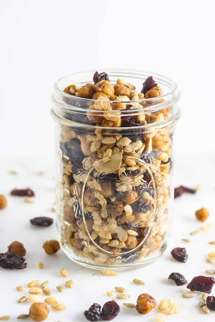 A mason jar filled with granola.