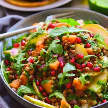 This autumn lentil salad served over chickpea pancakes is a protein-packed meal that's easy to make and makes use of the best of the season's produce. Serve this salad warm or cold, as a main or as a side. It's great as a make-ahead meal or to take to a potluck. Is there anything this salad doesn't do?