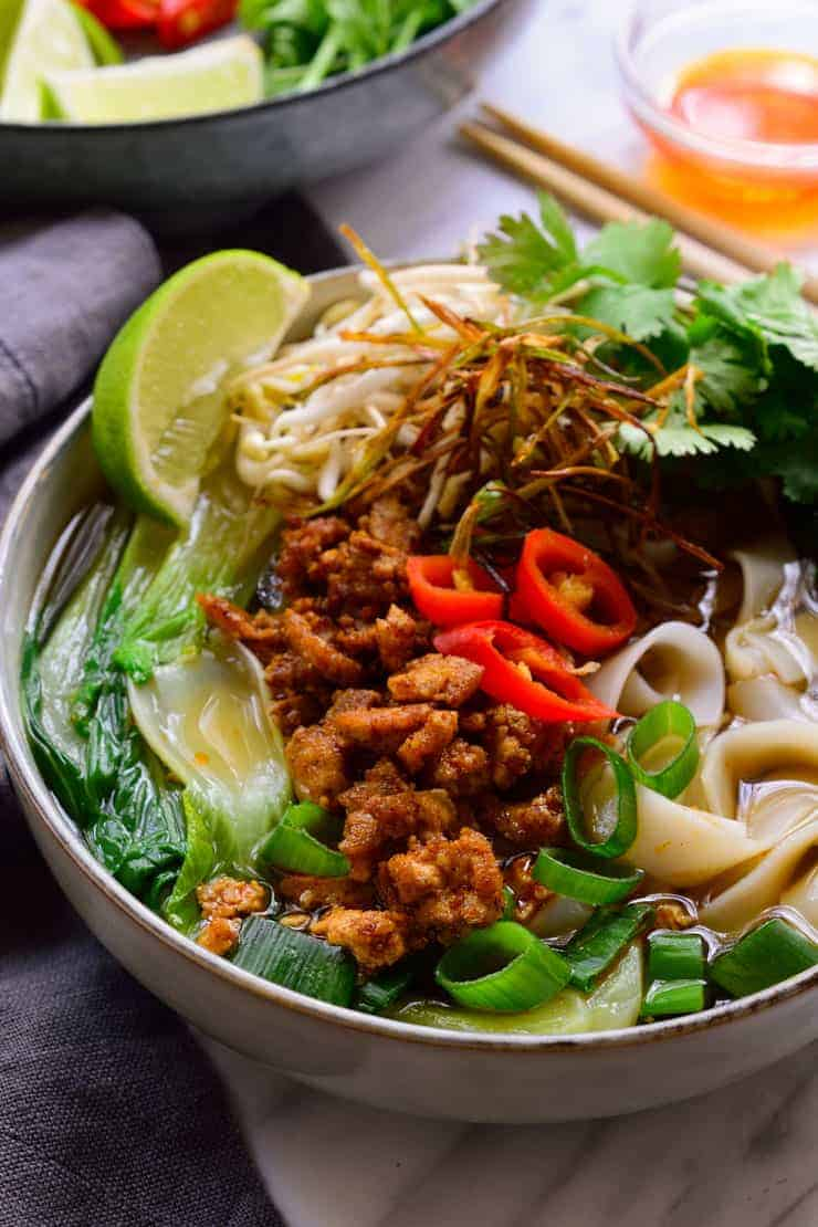 Vegan pho with all the toppings, rice noodles and a flavourful homemade broth from scratch.