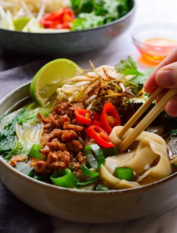 This vegan pho recipe will appease all your cravings for a delicious, intensely flavoured vegetarian pho. Thick slurpy rice noodles in a deliciously spiced umami broth and topped with smoky crumbled tofu, sweet frizzled onion, fresh herbs and sprouts. A bowl of soup so good you won't believe that this vegan pho is made 100% from scratch in less than one hour!