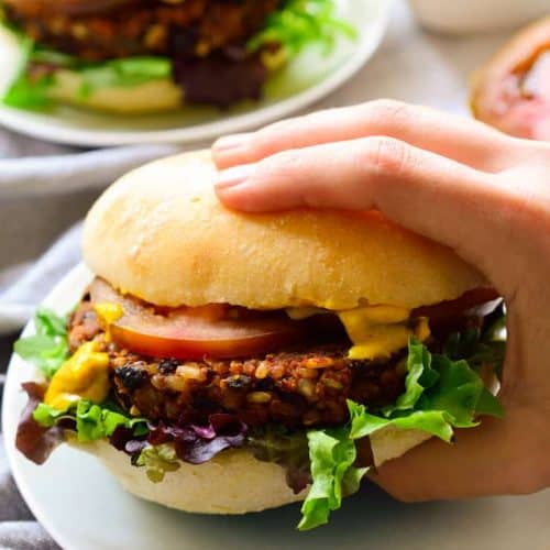 Vegan black bean burgers on a plate.