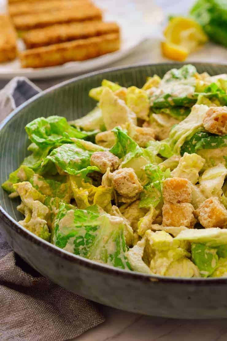 Vegan Caesar salad in a bowl.