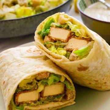 Vegan Caesar wrap on a plate.