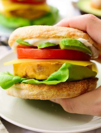 Vegan breakfast sandwich ready to eat.