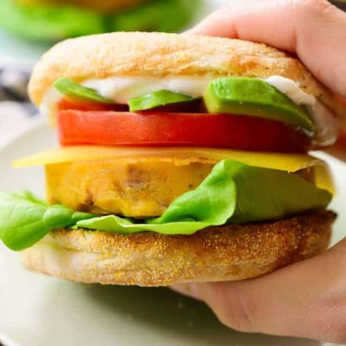 Vegan breakfast sandwich ready to eat.