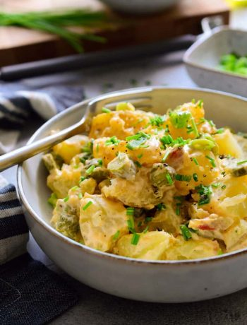 Vegan potato salad in a bowl.