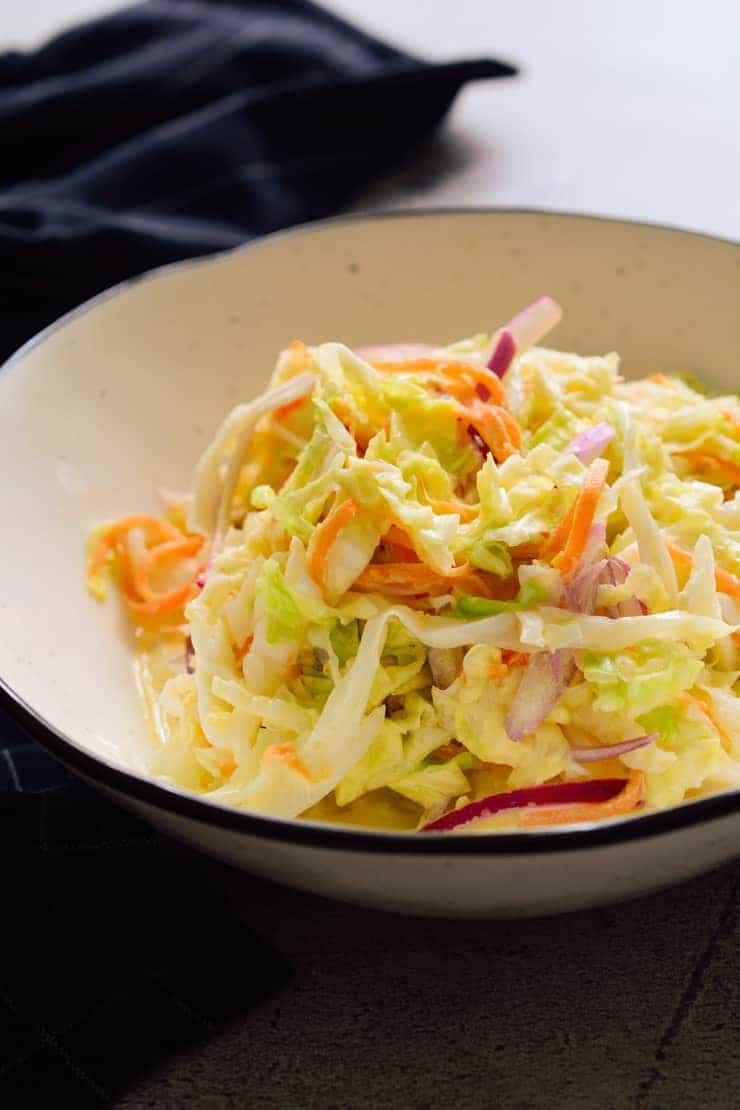 Vegan coleslaw in a bowl.