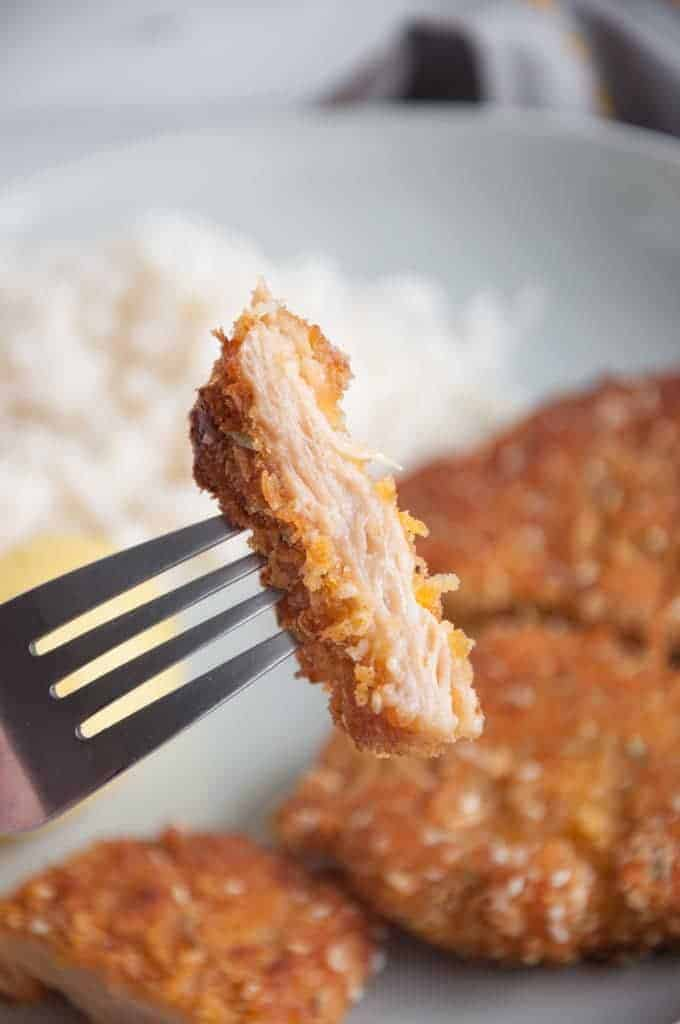 vegan schnitzel on a fork
