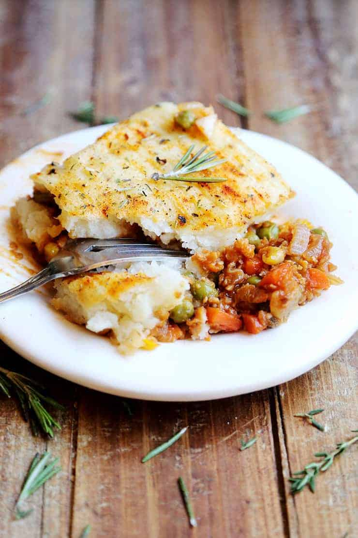 Vegan shepherd's pie on a white plate