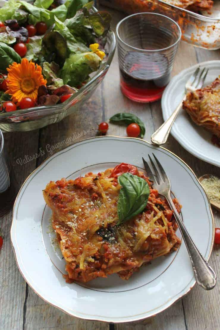TVP lasagna on a plate