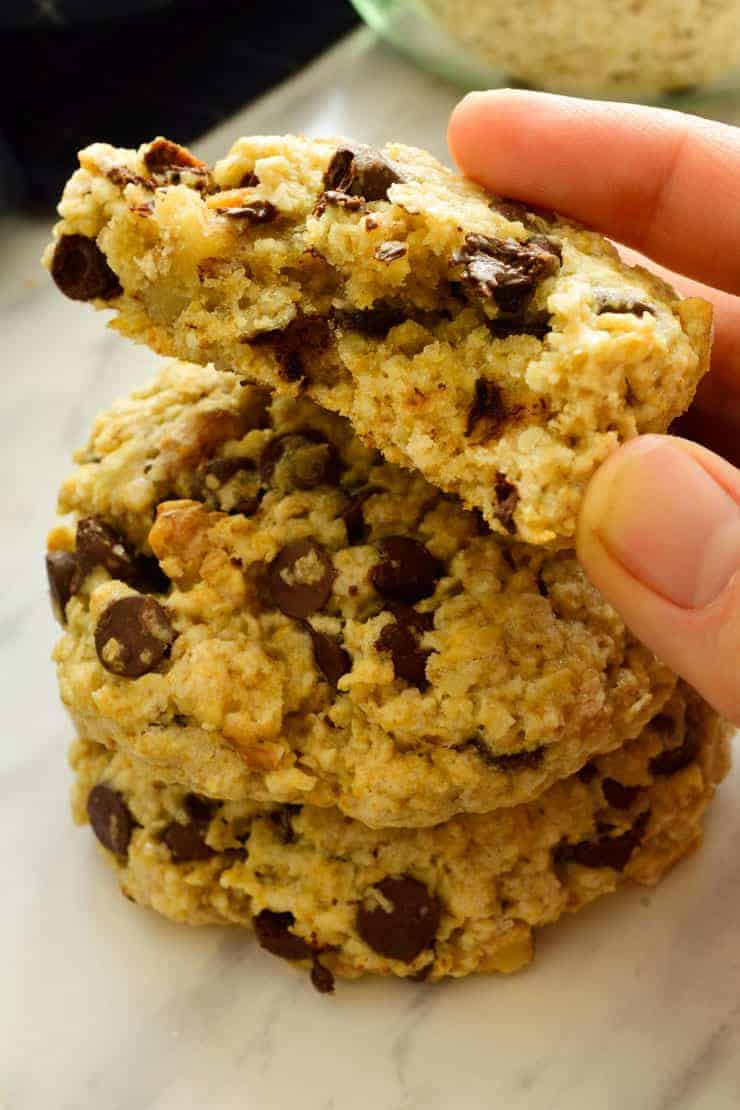 The inside of a vegan oatmeal chocolate chip cookie.