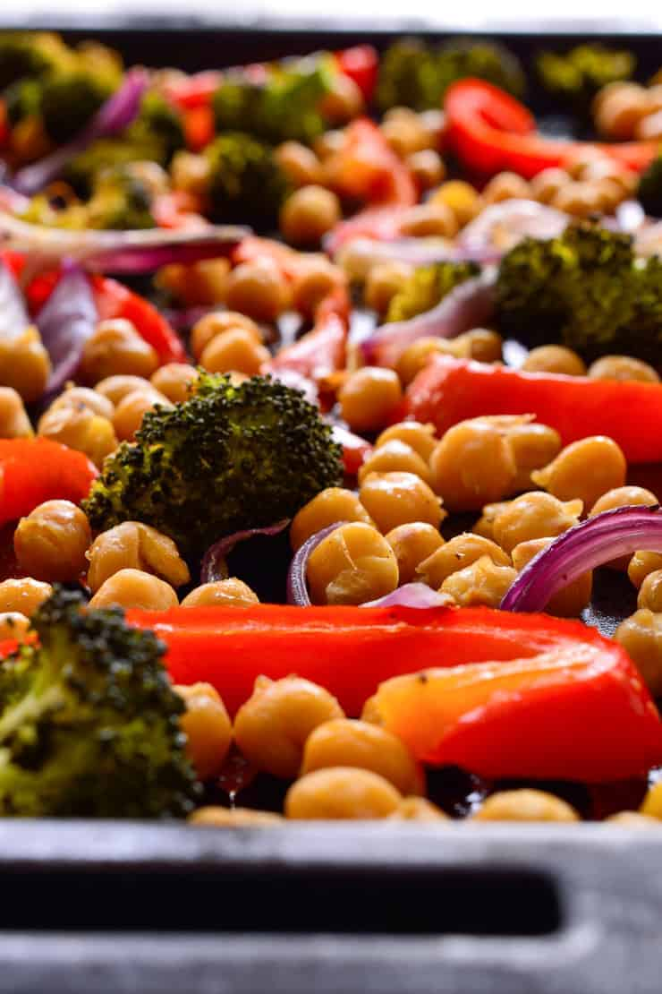 A pan of mixed veggies and chickpeas after roasting.