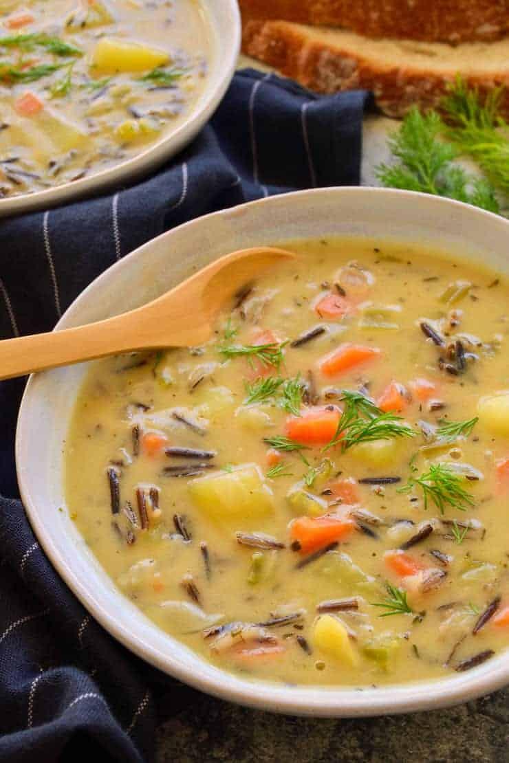 Vegan Wild Rice Soup The Stingy Vegan