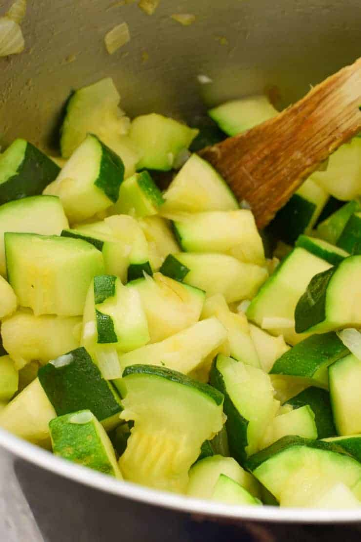 Inside the pot of chopped and sautéed zucchini.