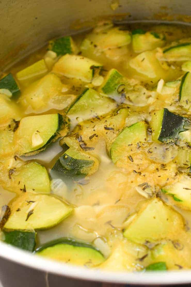 Inside the pot with the simmered zucchini.